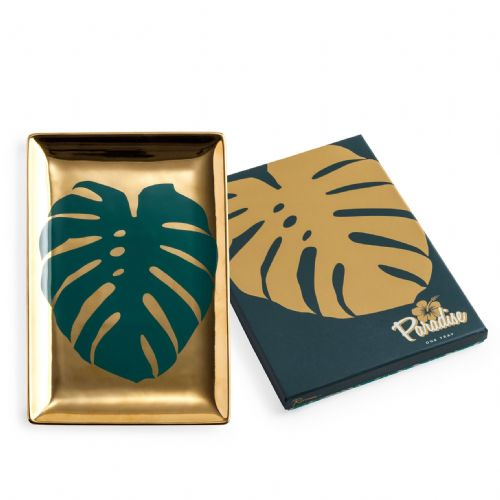 Paradise Gold Leaf Trinket Tray by Rosanna in presentation box